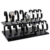 LANSCOERY Removable Acrylic Watch Display Stands Wristwatch Bracket Shelf Display Props for Men&Wowen 16Pcs Black