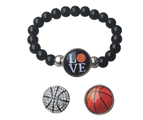 Sportybella Basketball Austauschbare Snap-Charm Armband Wulstige Basketball-Schmucksachen für Basketballspieler