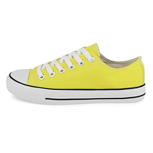 Sneakers best-boots da donna scarpe da ginnastica atletica scarpe Cords Slipper Giallo (New Yellow)