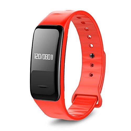 Atlanta Smartband mit GPS Puls Herzfrequenz Blutdruck Blutsauerstoff Schrittzähler Fitness Armband Aktivitätstracker - 9700 (Rot)