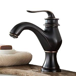 Grifo mezclador de latón para lavabo con aceite de bronce