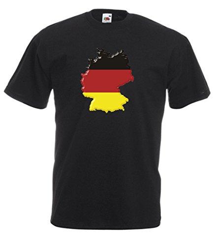 MFAZ Morefaz Ltd T-Shirt Deutsch Flagge Land Karte von Deutschland Herren Und Damen Men/Ladies (Black Germany Flag, L)