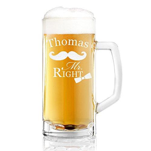 Bierkrug mit Gravur eines Namens – Bierseidel mit Motiv Mr. Right 0,5l