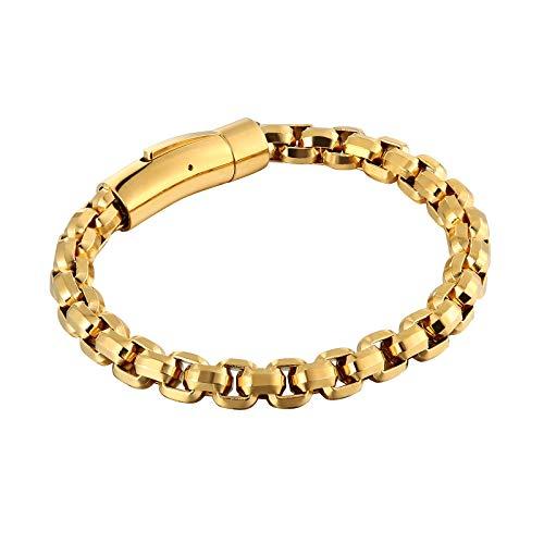 Epinki Edelstahl Herren Armband Venezianierkette Armbänder Gothic Freundschaftsarmbänder Gold 22.3CM