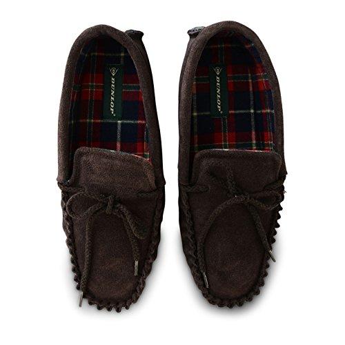Herren Dunlop Leder Hausschuhe Echt Wildleder warmes Fell Slip auf Loafer Mokassins Schuhe Mocha