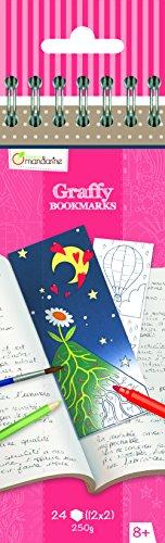 Avenue Mandarine GY036O Malblock mit 24 Lesezeichen Graffy, zum Selbstgestalten, 250g Zeichenpapier, 12 Designs x 2, ideal für Kinder ab 6 Jahren, 1 Stück, Poesie