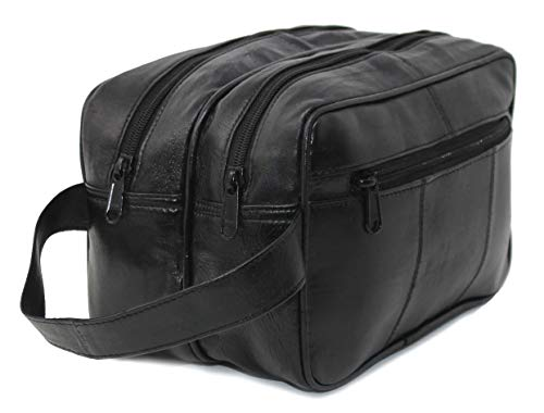 RAS WALLETS Mens Large Genuine Leather Travel Overnight Wash Gym Toiletry Shaving Bag 3520 Black