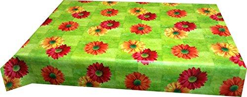 140 x 160cm Motiv Blüten rot orange gelb, abwaschbar (Runde Vinyl Tischdecke Ausgestattet)