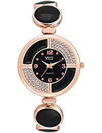 Youth Club Black Studded Pearly Analog Black Dial Girl's Watch-DM-PRLBLK
