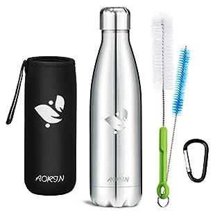 Aorin Vakuum-Isolierte Trinkflasche aus Hochwertigem Edelstahl - 24 Std Kühlen & 12 Std Warmhalten Pulverlackierung Kratzfestigkeit Leicht zu reinigen. (Silber-500ml)