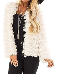 2202a49668bda Millenniums Femme Manteau Cardigan en Fausse Fourrure Chaud Hiver Parka  Chic Sweatshirt Veste à Manches 3