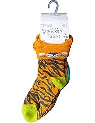 2er Pack Baby Socken - Tiger und Elefant - Orange/Grau/Mehrfarbig