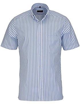 ETERNA Modern Fit Hemd Halbarm Button Down Kragen Streifen dunkelblau