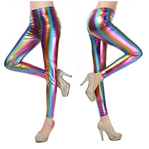 MAOYYMYJK Fluorescencia para Mujer Bloque de Color metálico Brillo Bling Estampado a Rayas Punk Rock Leggin Pantalones Mujeres Leggings Brillantes Polainas
