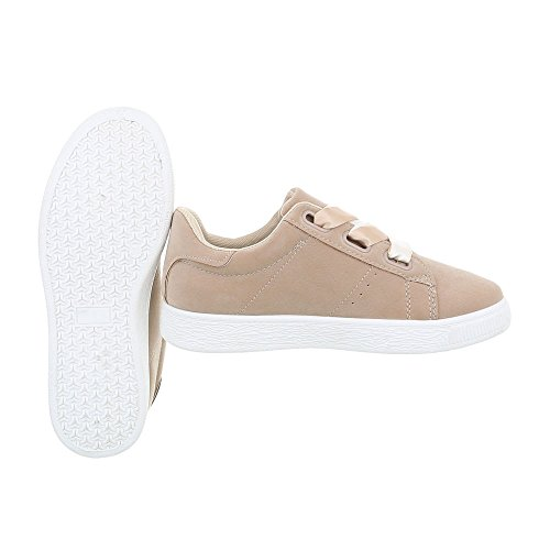 Ital-Design Scarpe da Donna Sneaker Piatto Sneakers Low Beige