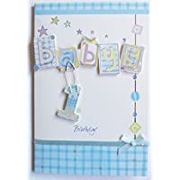 Beautifully Hand Crafted Happy 1st Birthday Greetings Card - Baby Boy Blue