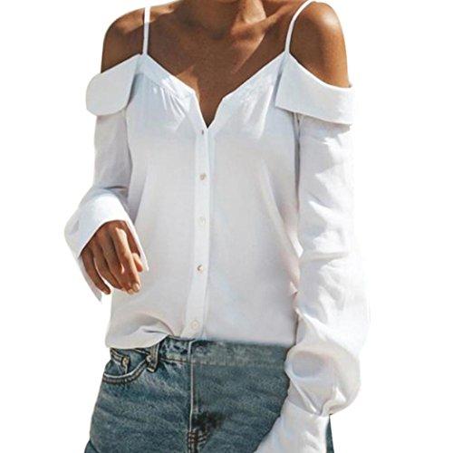 Yvelands Frauen Off Schulter V-Ausschnitt mit Langen Ärmeln Reine Farbe Tops Lose Bluse Shirt (Nylon-seide Bluse)