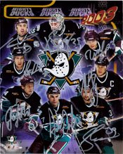 Signed Ducks, Mighty (2003) 8x10 by the 2003 Mighty Ducks (JS Giguere, Keith Carney, Stanislav Christov, Steve Rucchin, Ruslan Salei, Adam Oates, Petr Sykora, Paul Kariya) 8 signatures in all autographed
