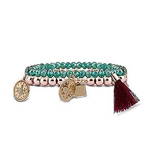 Damen Armband im orientalischen Design   Armband aus Kunststoffperlen mit schönen Anhängern   Zwei Armbänder in Roségold und Grün oder Lila   Individueller Schmuck für Frauen