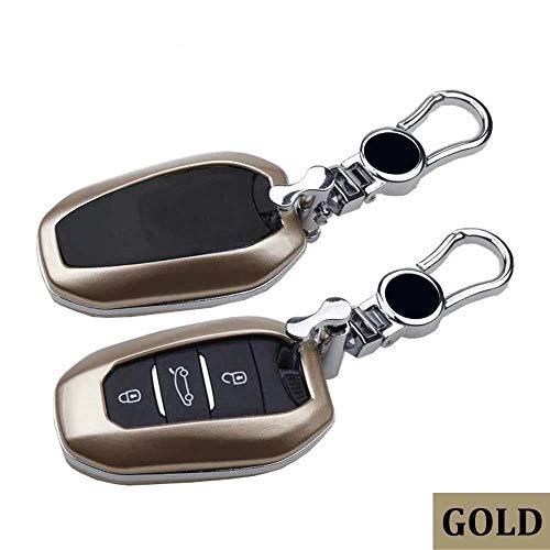 SUNQQB Neue autoschlüssel Fall Abdeckung Halter Shell Hood Keychain für Citroen c4 c6 c4l Cactus c3-xr ds4 ds5 smart Remote 3 Tasten schlüsselsatz Tasche,Paint,Gold -