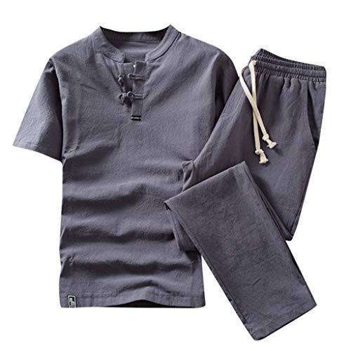 CICIYONER Leinenhemd + Leinenhose Herren Sommer Mode einfarbig Baumwolle und Leinen Kurzarm Hose Set Anzug Trainingsanzug (2XL, Grau) - Damen Wolle Anzug