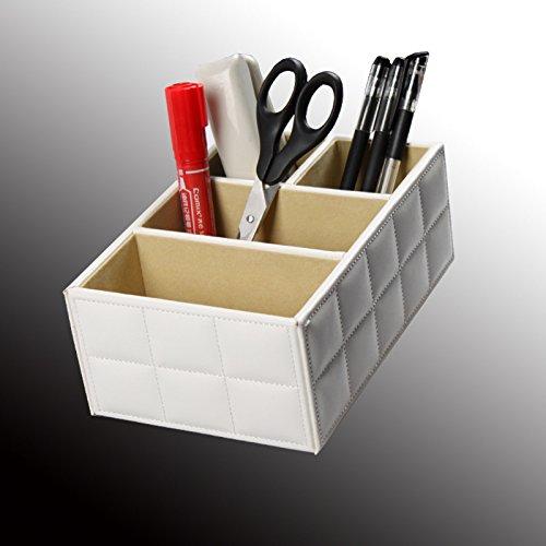 Boîtes de rangement PU cuir papeterie Accueil zone Trier encombrement du Bureau . white