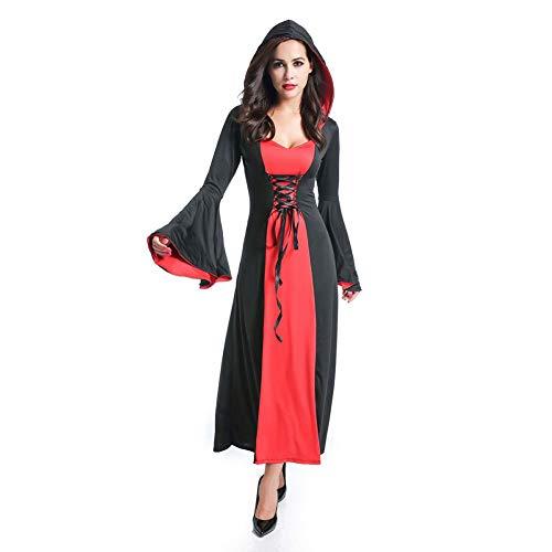 MEMIND Halloween Kleider Erwachsenen Vampir Langer Rock Sensenmann Teufel Kostüm Maskerade Kostüme Spiel Anzug Cosplay Thema Party Kleidung,Rot