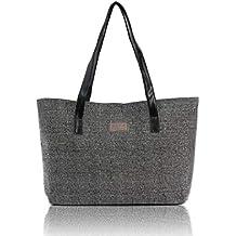 8d738366a QUICKLYLY Bolsa Mano de Mujer de Playa Lona Grande Bolso de Shopper con  Cremallera de Hombro