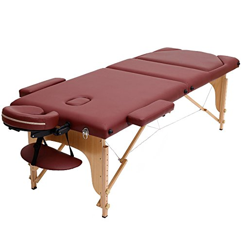Lettino da massaggio lettino portatile da 3 sezioni deluxe professionale leggero da trasporto per il salone di terapia tattoo reiki healing massaggio thailandese svedese - brown