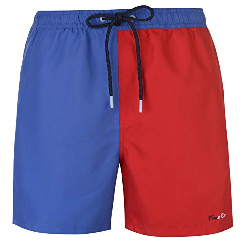 Pierre Cardin - Bañador para Hombre Azul/Rojo M