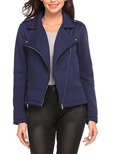 Finejo Damen Sweatjacke Biker jacke Kurz Motorradjacke Übergangsjacke Winterjacke Mantel Jacket Blazer Coat Outwears Blau L