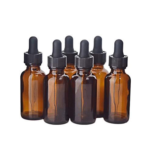 Lurrose Glasflaschen für ätherische Öle, 15 ml, nachfüllbar, leere bernsteinfarbene Flasche mit Tropfer und Kappe, Küchenwerkzeug, Chemie, Labor, Chemie, Chemie, Köln, Parfüm, 4 Stück