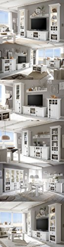 Wohnwand Anbauwand mit Highboard & Vitrine 440972 pinie weiß 4-teilig - 9