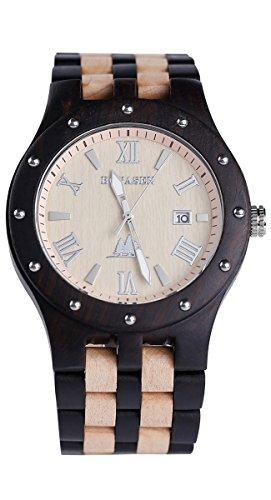 BS® Casual handgefertigt Holz Armbanduhr Analog Quarz Bewegung mit natürlichen Sandelholz aus Ebenholz und Ahorn bns-250a (Tasche Bambus-leder)