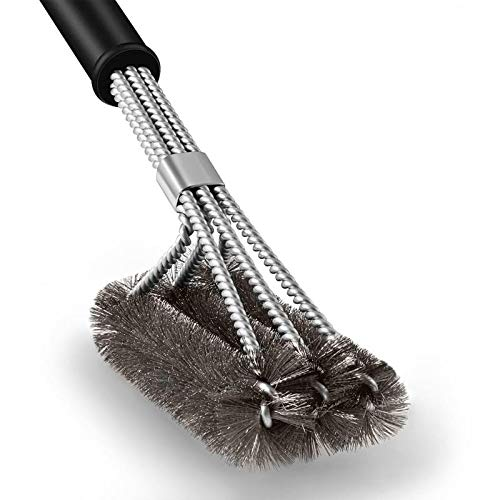 """Cepillo Barbacoa 18\"""" acero inoxidable tejido parrilla de cerdas cable 3 en 1 cepillo para parrilla de Gas o carbón Weber"""