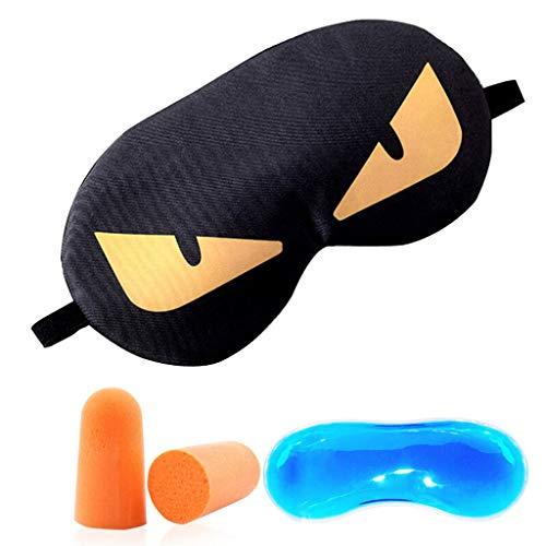JFya Augenmaske Reise tragbare Reise Brillen Schattierung Schlaf Männer und Frauen Cartoon Augenmaske heiße Kompresse EIS (Farbe : A)