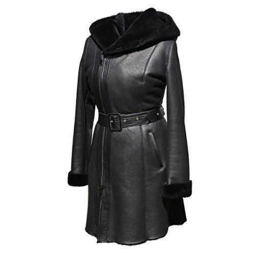 Lammfellmantel - PIA Damen Fellmantel Ledermantel schwarz mit Kapuze Size S