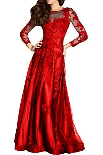 Gorgeous Bride Hochwertig Lang Aermel A-Linie Satin Tuell Spitze Rundkragen  Abendkleid Festkleid Ballkleid Rot