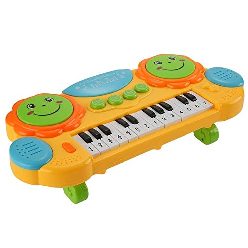 XuBa Baby Kids Batteria Giocattolo Strumento Musicale Organo elettronico Tastiera Mano Beat Colori Yellow