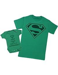 Keep Calm Dad Is A Super Hero - Ensemble Père Bébé Cadeau - Hommes T-shirt & Body bébé