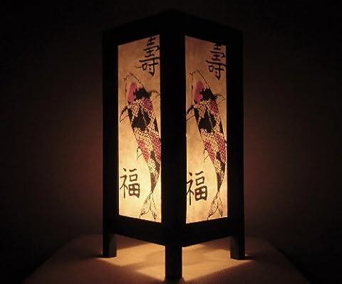 Rare Asie thaï Lampe de Tables Bouddha Style Chevet Koi Par Thaïlande