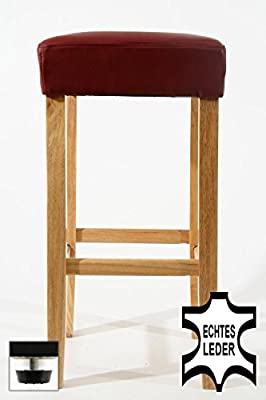 Barstools wood wine-red REAL LEATHER adjustable floor glides upholstery - inexpensive UK light store.