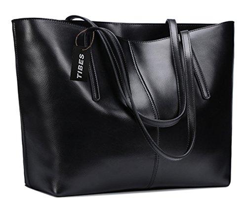 Tibes signore progettista del cuoio genuino della borsa della borsa del totalizzatore Nero
