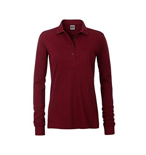 Polo à manches longues facile dentretien et durable avec poche poitrine Wine