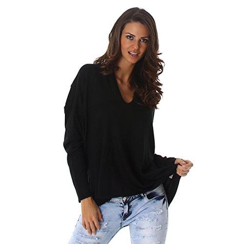 Voyelles - Pull - Uni - Manches Longues - Femme One Size Schwarz