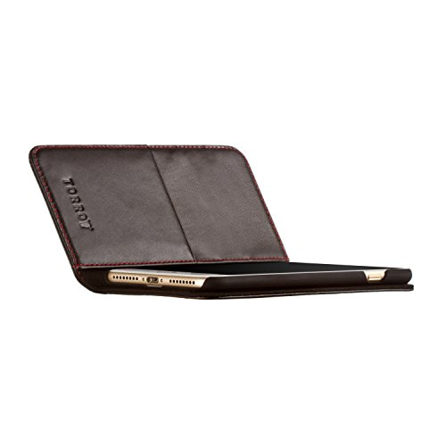 Étui iPhone 8 / iPhone 7 de TORRO en Cuir Véritable. Coque Housse Etui portefeuille Brun Clair, très mince avec Fonction de Support, en cuir de qualité supérieure, (brun clair/tan/brun roux, en cuir v Noir