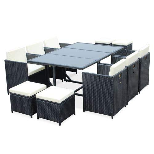 Salon de Jardin 6-10 Places - Cubo - Coloris Noir, Coussins écrus, Table encastrable, Cube.