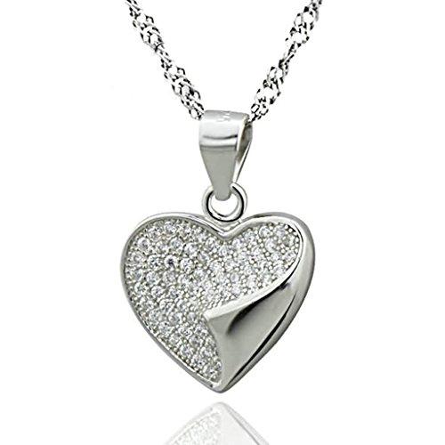 Bishiling Schmuck 925 Sterling Silber Kette Anhänger Damen CZ Liebe Herz Weiß (Kostüme Bethlehem)