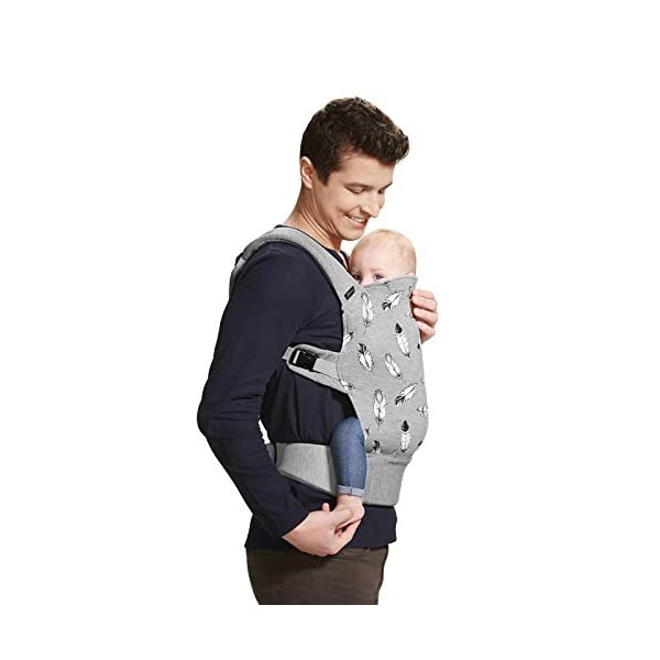 kk Kinderkraft Milo Ergonomic Baby Carrier Front Gray kk KinderKraft Ergonomic baby carrier for children aged from 3 months up to 20 kg Two baby carrying positions: on the stomach and on the back Rubber bands so that the belt ends do not hang 5