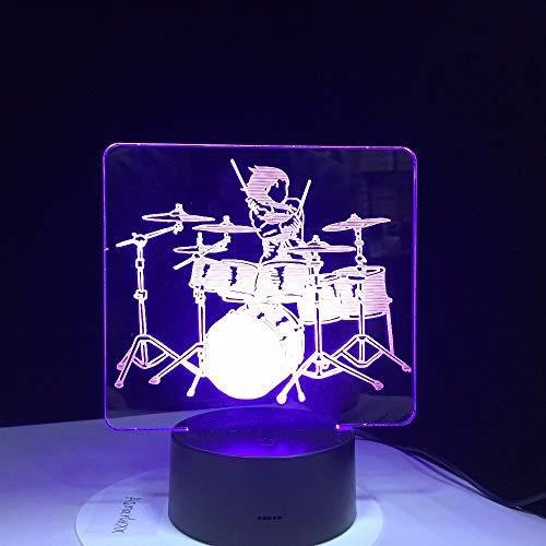 Gwgdjk 2D Acryl Musik Trommel Set 3D Optische Täuschung Stimmungslicht 7 Farben Ändern Luminaria Lava Lampe Kinder Nachtlicht Geschenke Drop Ship
